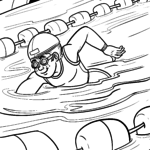 Coloring page swimming | Sports
