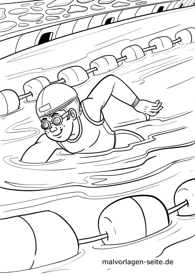 Coloring page swimming crawl