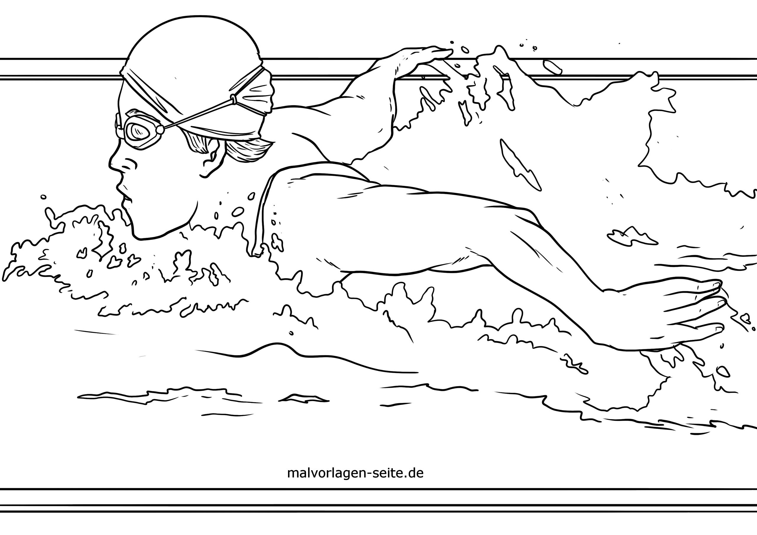 malvorlage schwimmen zeichnung