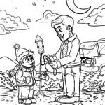 Stranica za bojanje koja pali novogodišnju raketu za bojanje