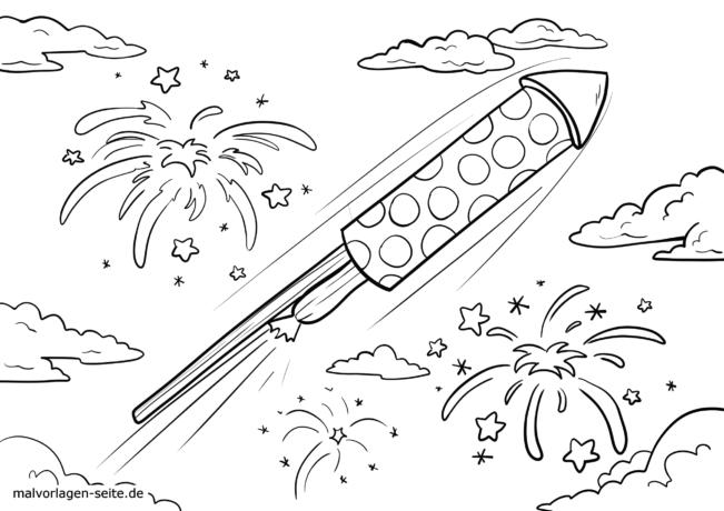 Väritys sivu uudenvuoden raketti taivaalla