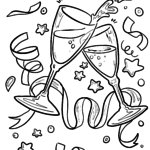 Coloring page Toast with sparkling wine New Year for coloring