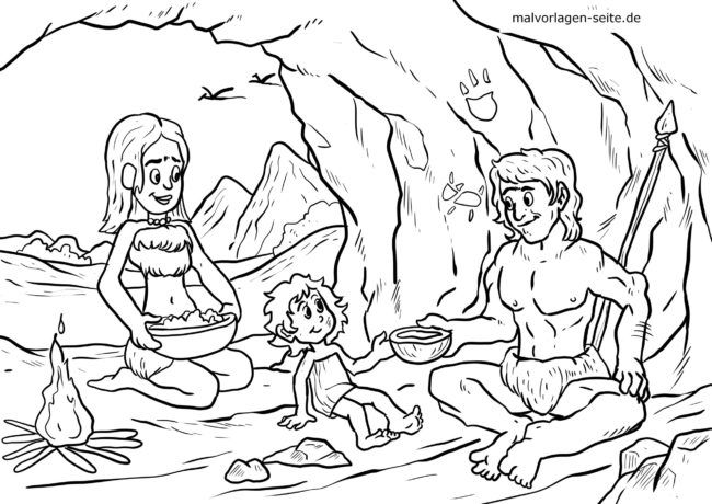 Coloring page Stone Age Family