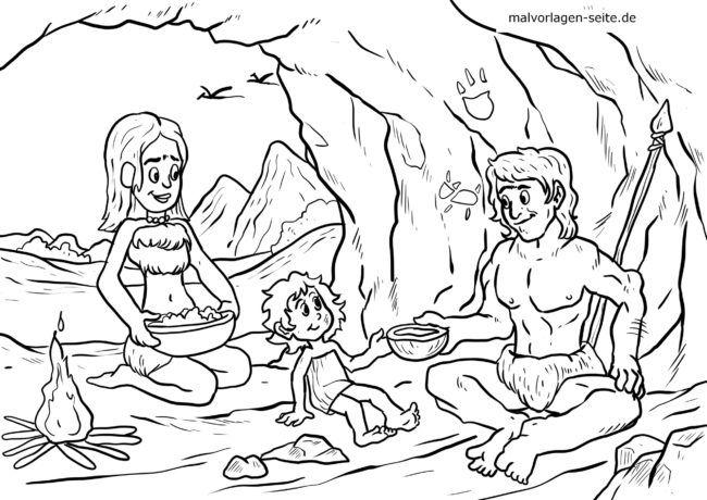 Coloriage famille de l'âge de pierre