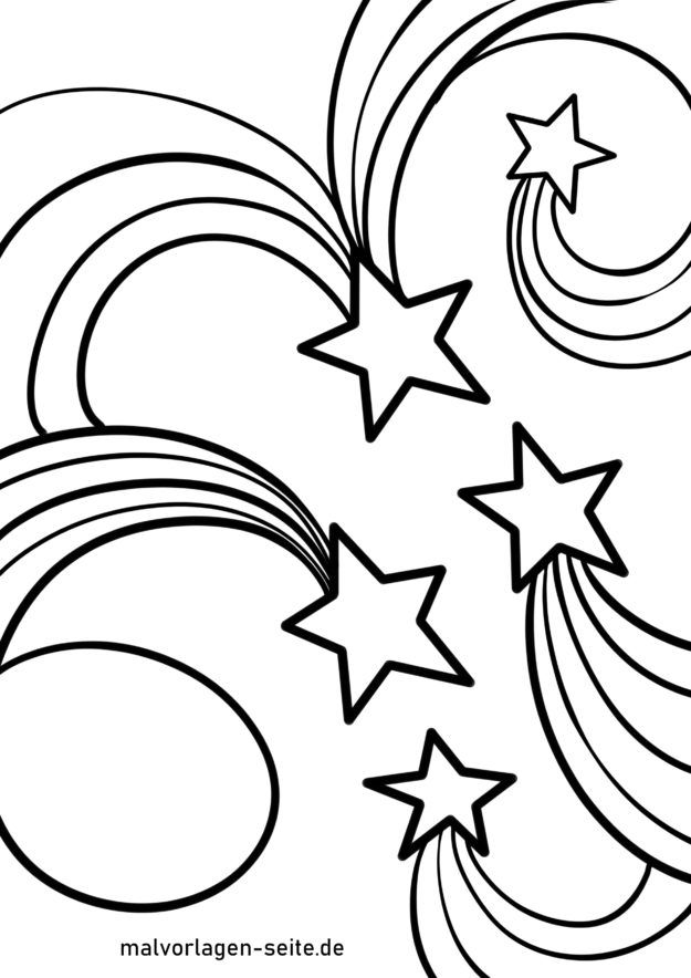 Coloring page shooting stars