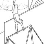 Coloring page gymnastics horizontal bar | Sports
