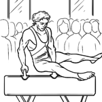 Coloring page gymnastics pommel horse | Sports