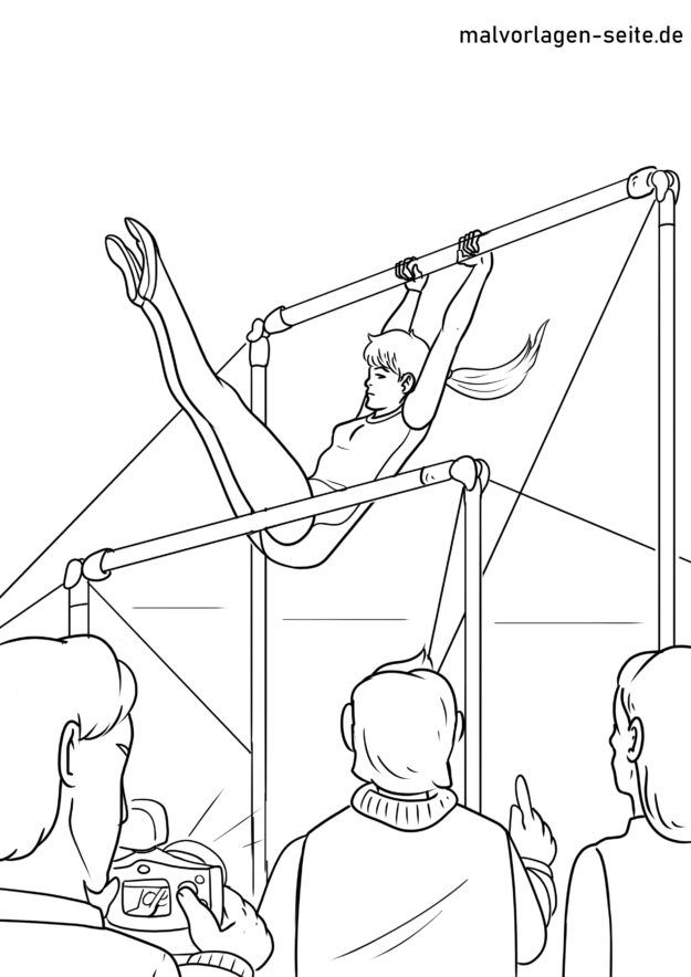 Coloring page gymnastics uneven bars