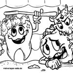 Zähne putzen - Karies Bakterien zum Ausmalen für Kinder