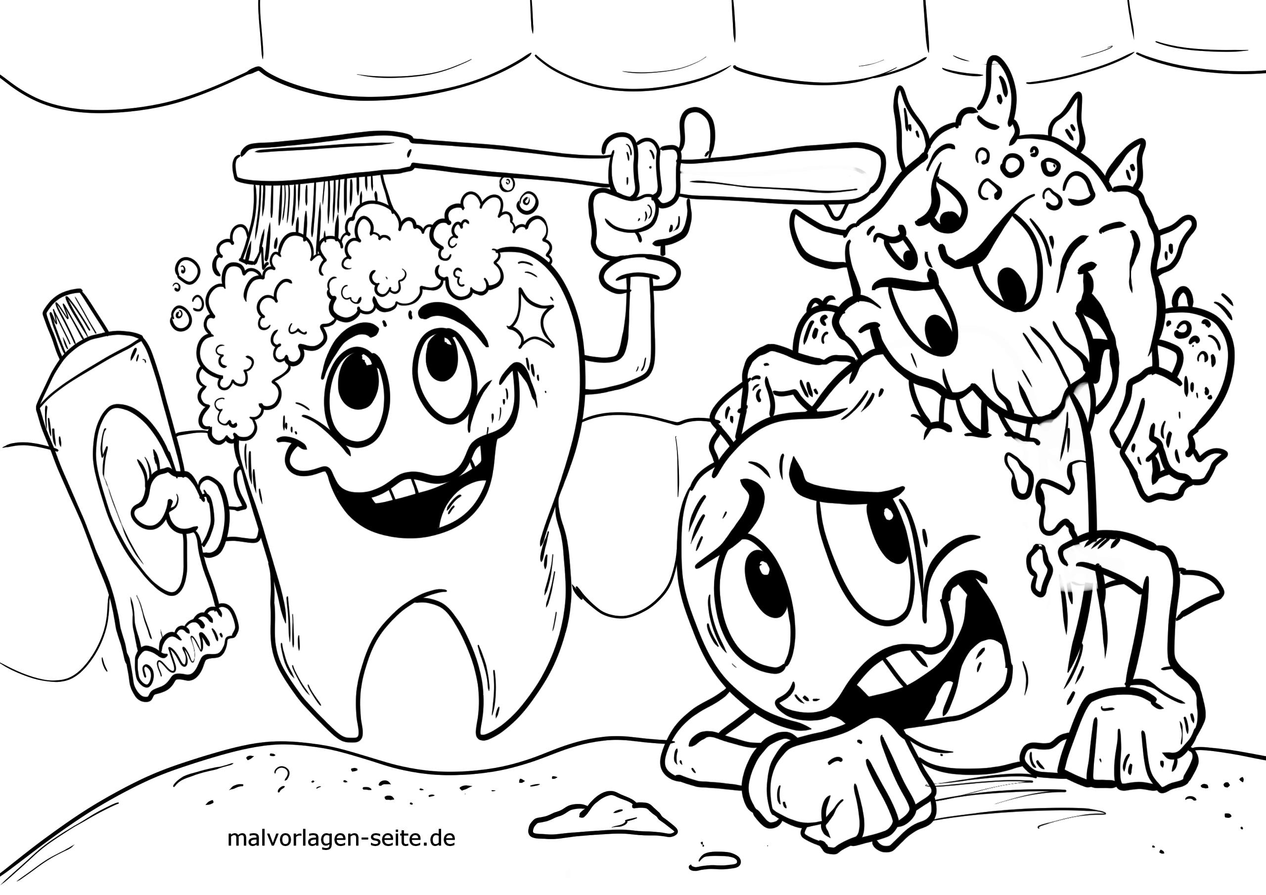 Malvorlage Zähne Putzen | Köperpflege - Ausmalbilder Kostenlos