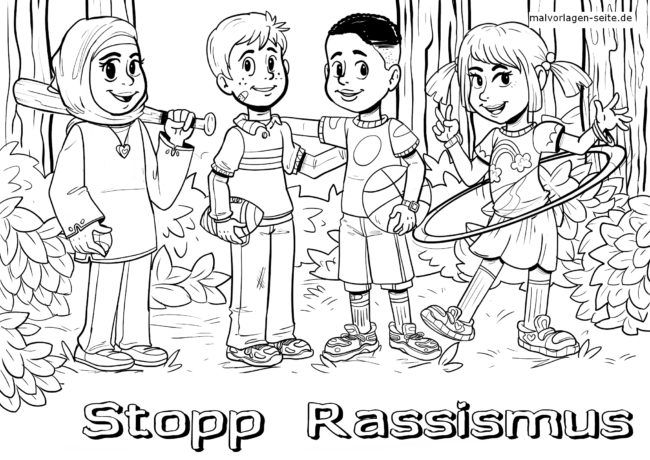 Coloring page against racism. Educational picture stop racism
