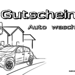 Voucher car wash template for coloring