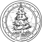Christmas mandala for coloring for children at Christmas