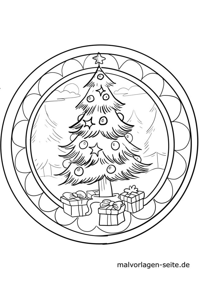 Página para colorir mandala de natal