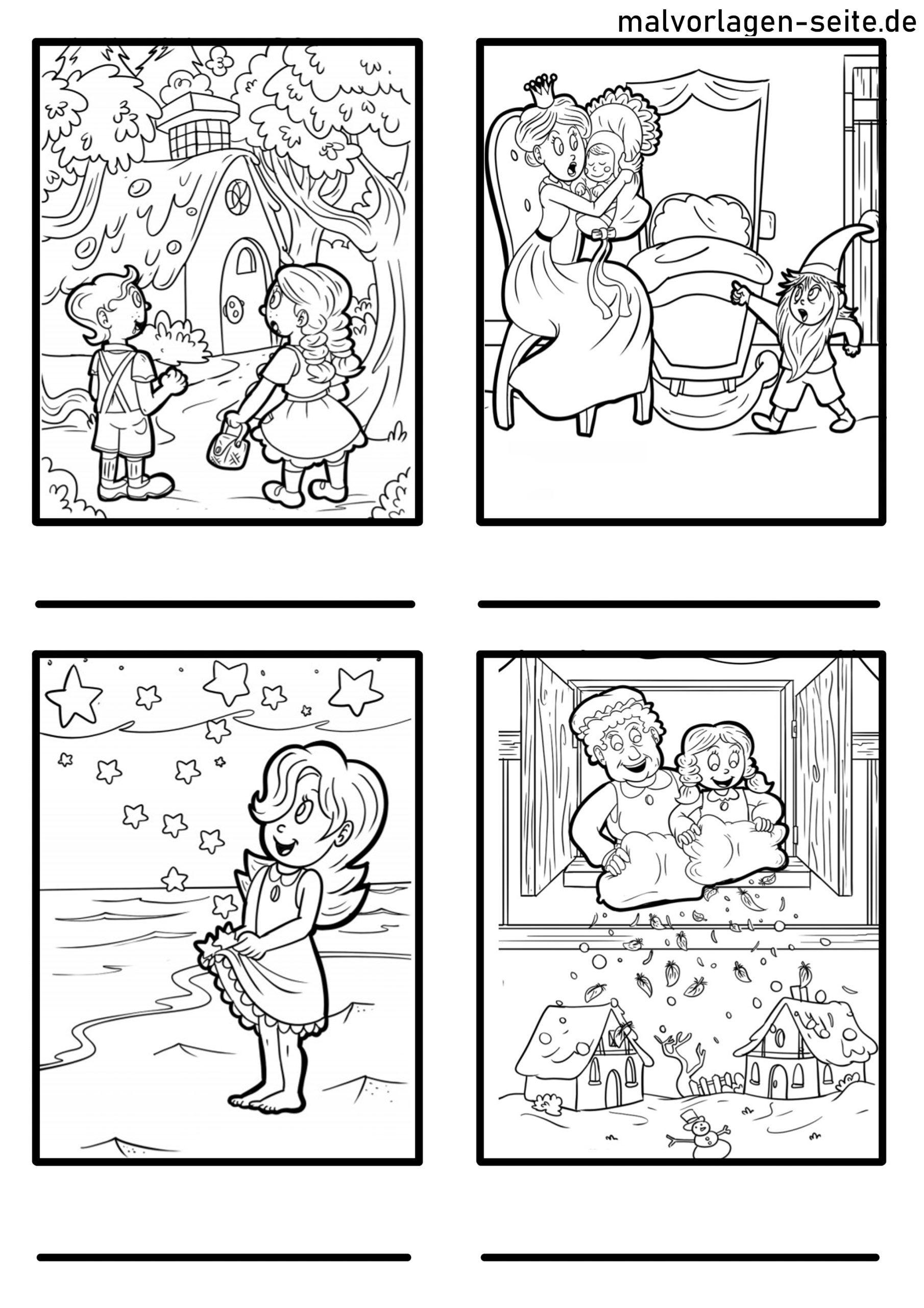 märchen erkennen für kinder  rätsel  ausmalbilder