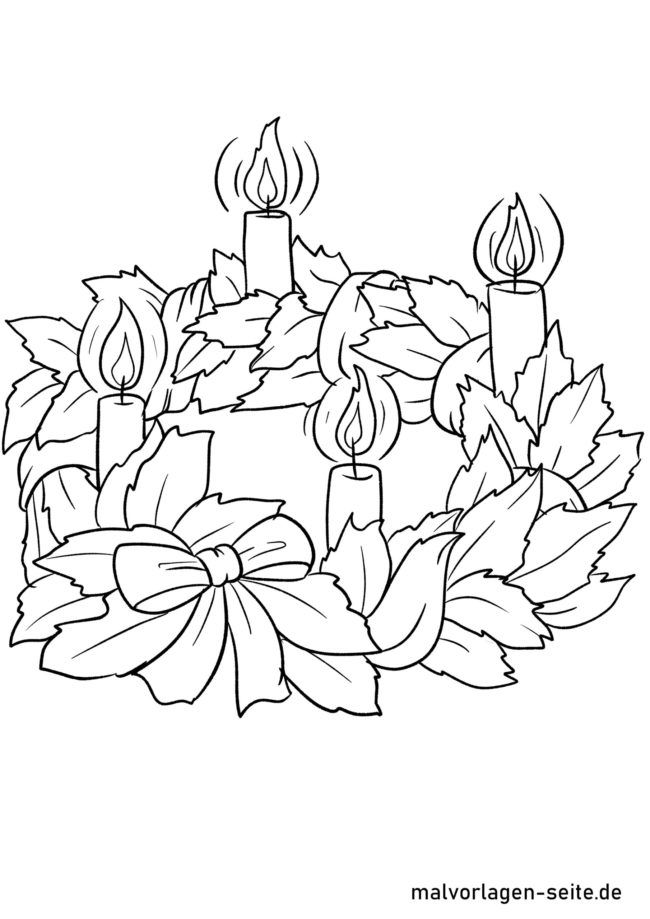 Coloring page Advent wreath - waiting for Christmas
