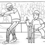 Coloring page cricket