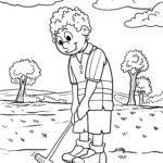 Malvorlage Golf spielen - Einlochen zum Ausmalen