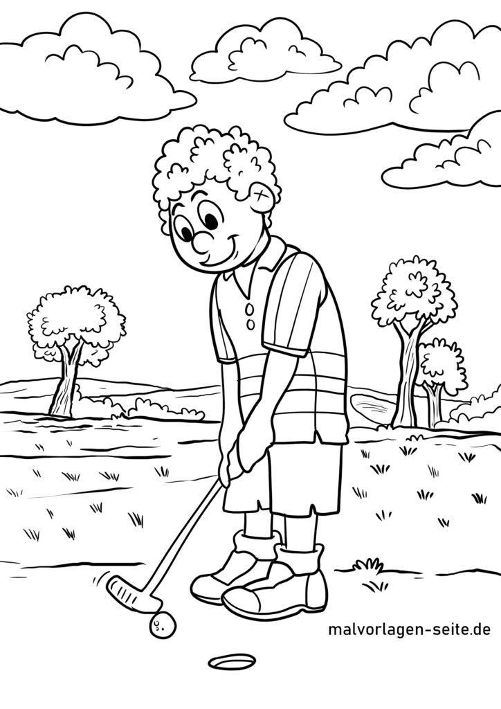 ausmalbilder golf spielen  kostenlos drucken und ausmalen