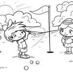Malvorlage kider spielen Golf zum Ausmalen