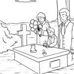 Malvorlage Beerdigung / Grab zum Ausmalen