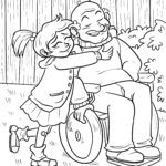 Coloring page family generations - grandfather and grandchild for coloring