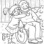 Malvorlage Familie Generationen - Großvater und Enkelkind zum Ausmalen