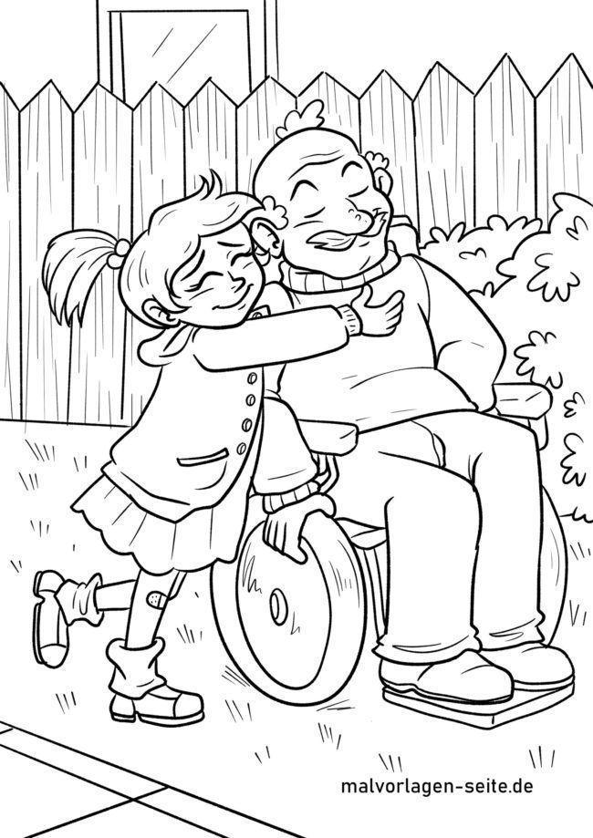 Coloring page grandpa and grandchild