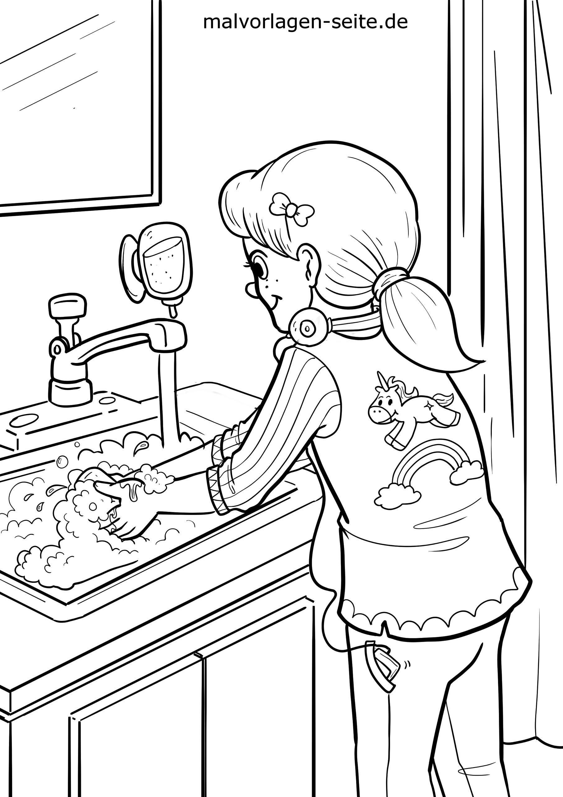 malvorlage hände waschen  körperpflege  kostenlose