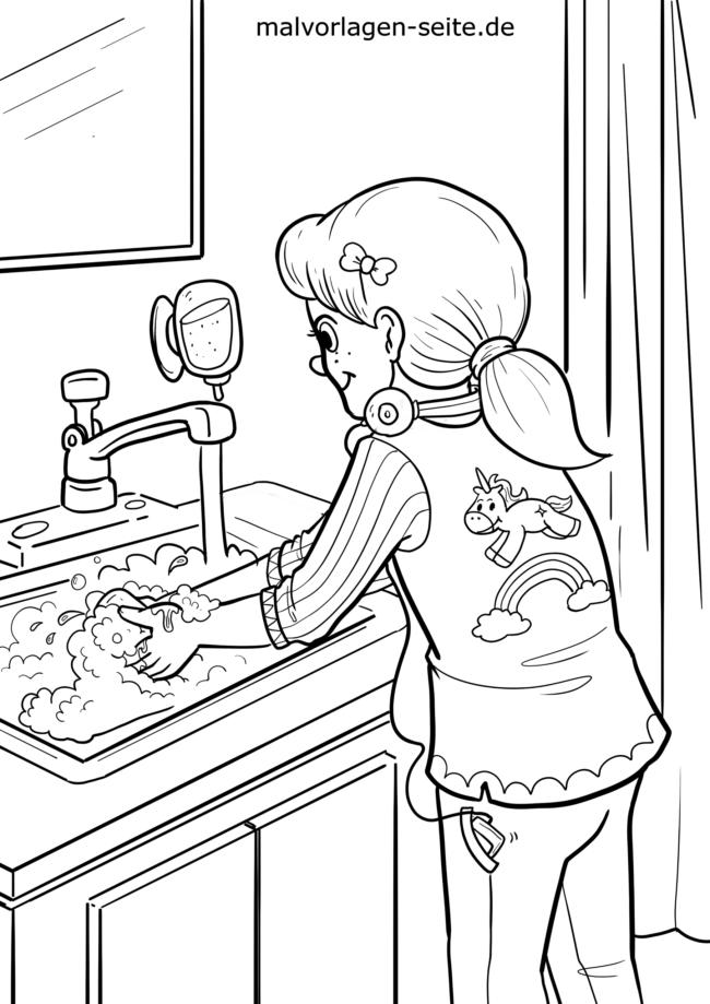Halaman Mewarnai Yang Bagus Untuk Mencuci Tangan Perawatan Pribadi Halaman Mewarnai Gratis