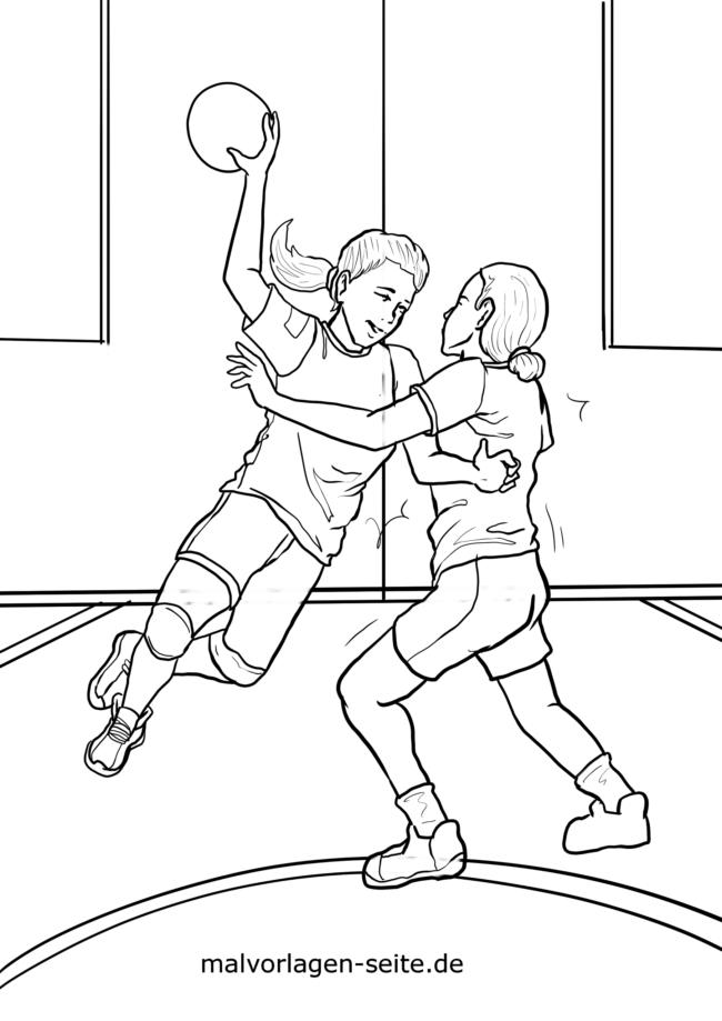 Coloring page handball player