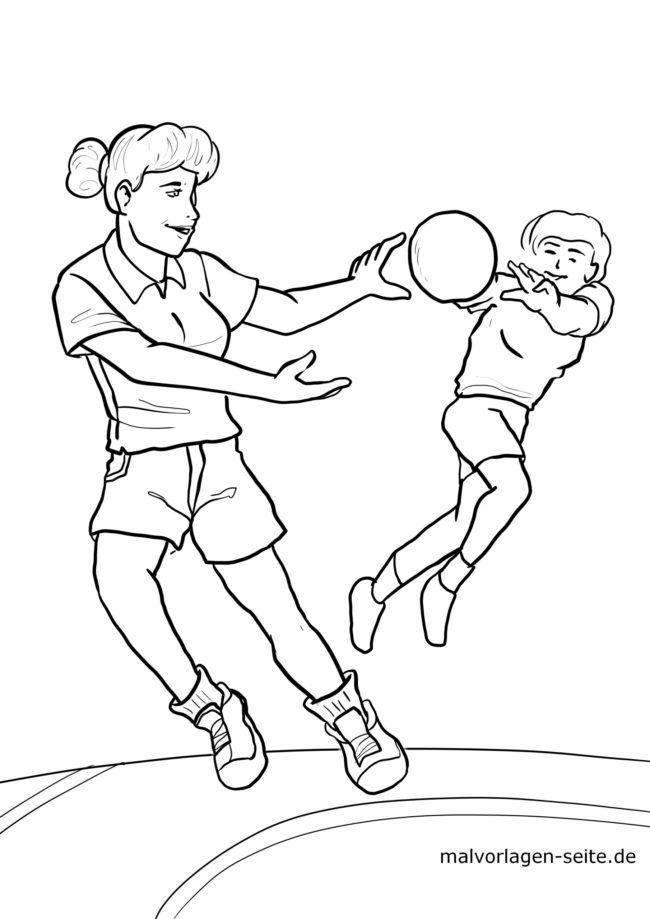 Malvorlage Handball Spielerinnen