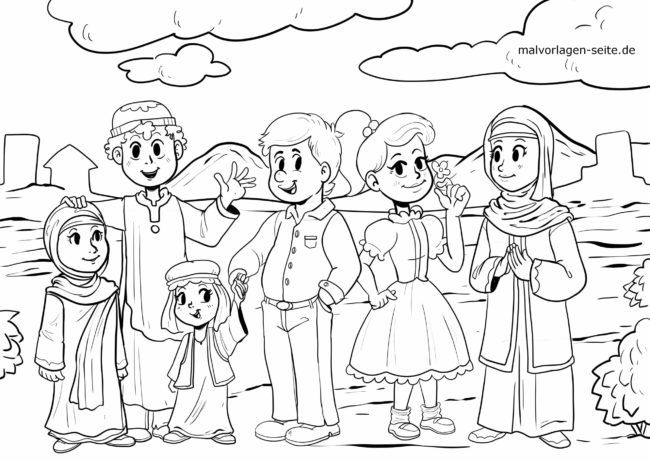 Coloring page against racism and exclusion