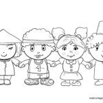 Coloring page against racism - children of different ethnic origin