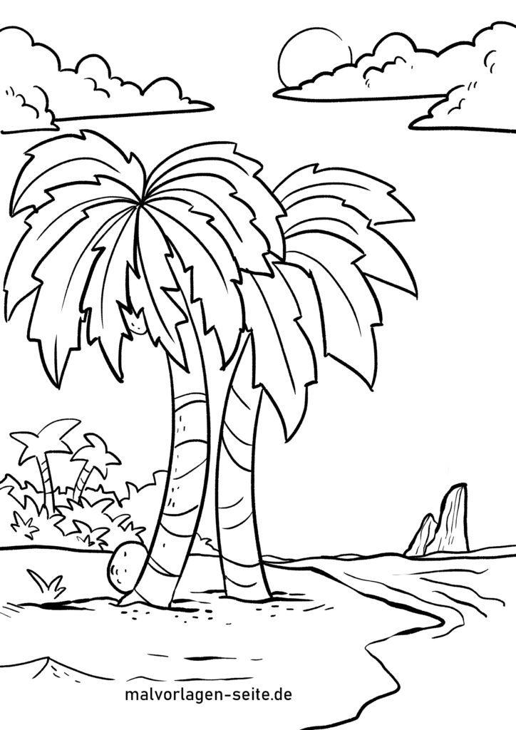 ausmalbilder palmen kostenlos herunterladen und ausmalen