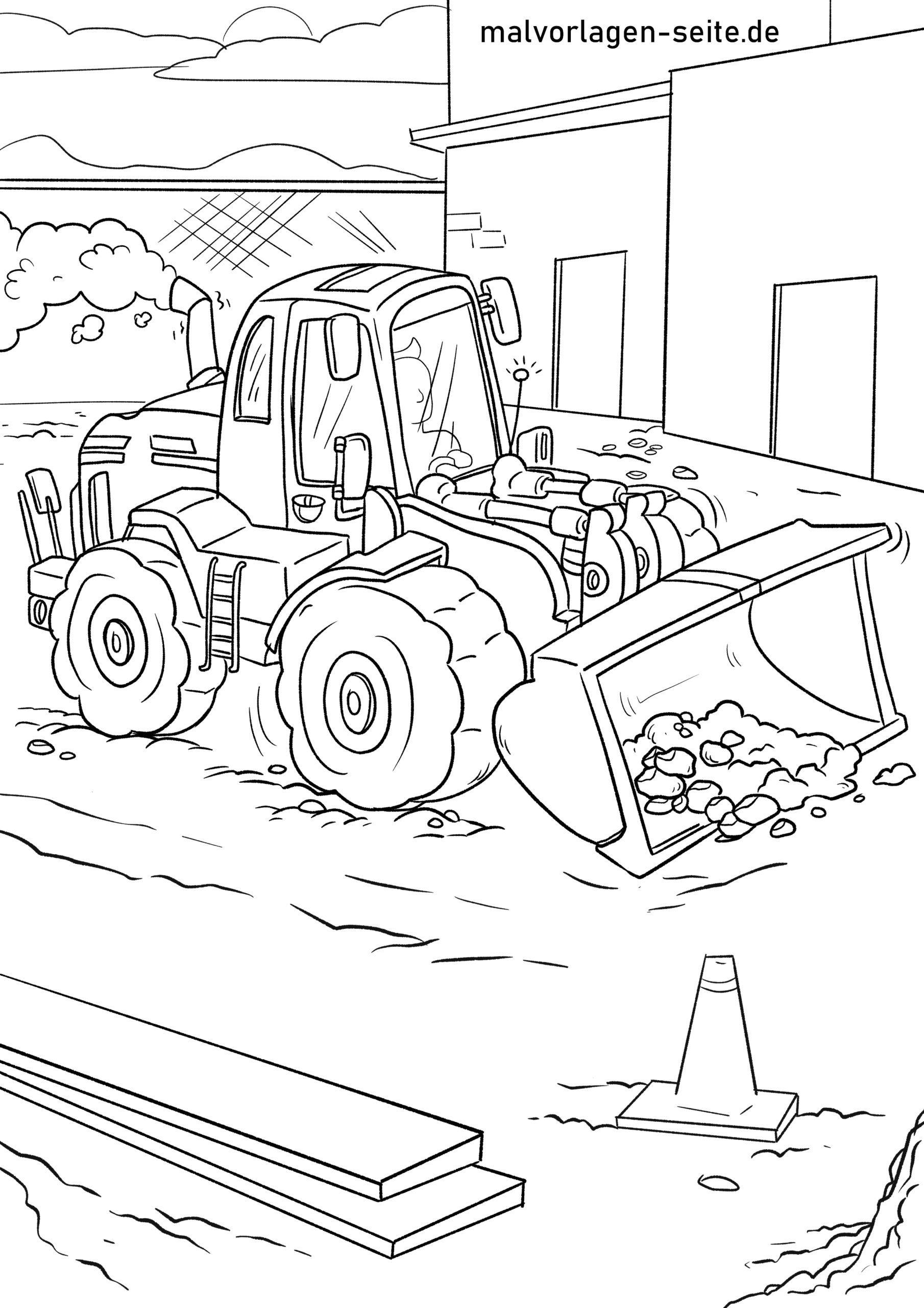 malvorlage radlader fahrzeuge baustelle  kostenlose
