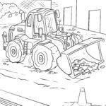 Coloring page wheel loader vehicles construction site
