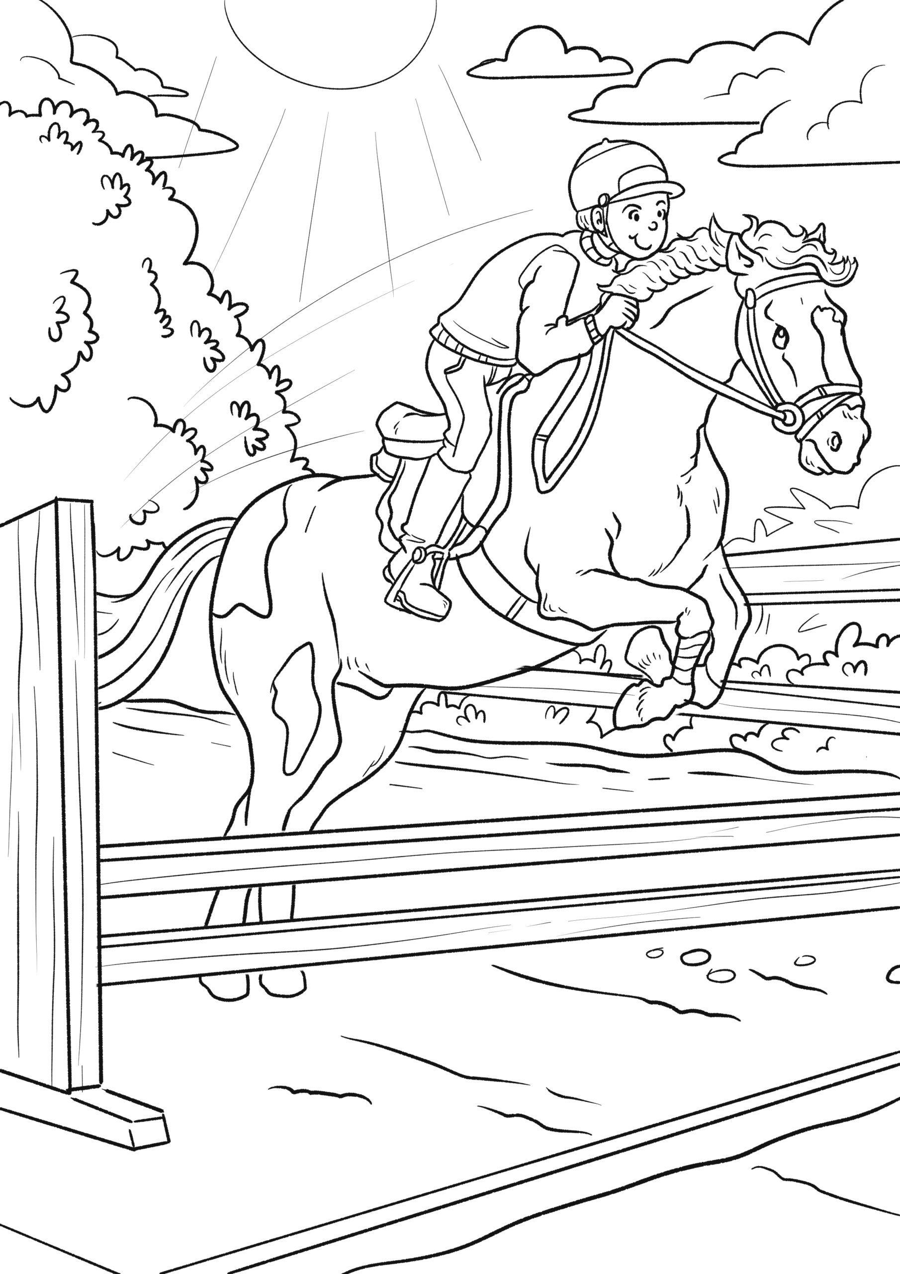 ausmalbilder pferde reiterhof  kinder ausmalbilder