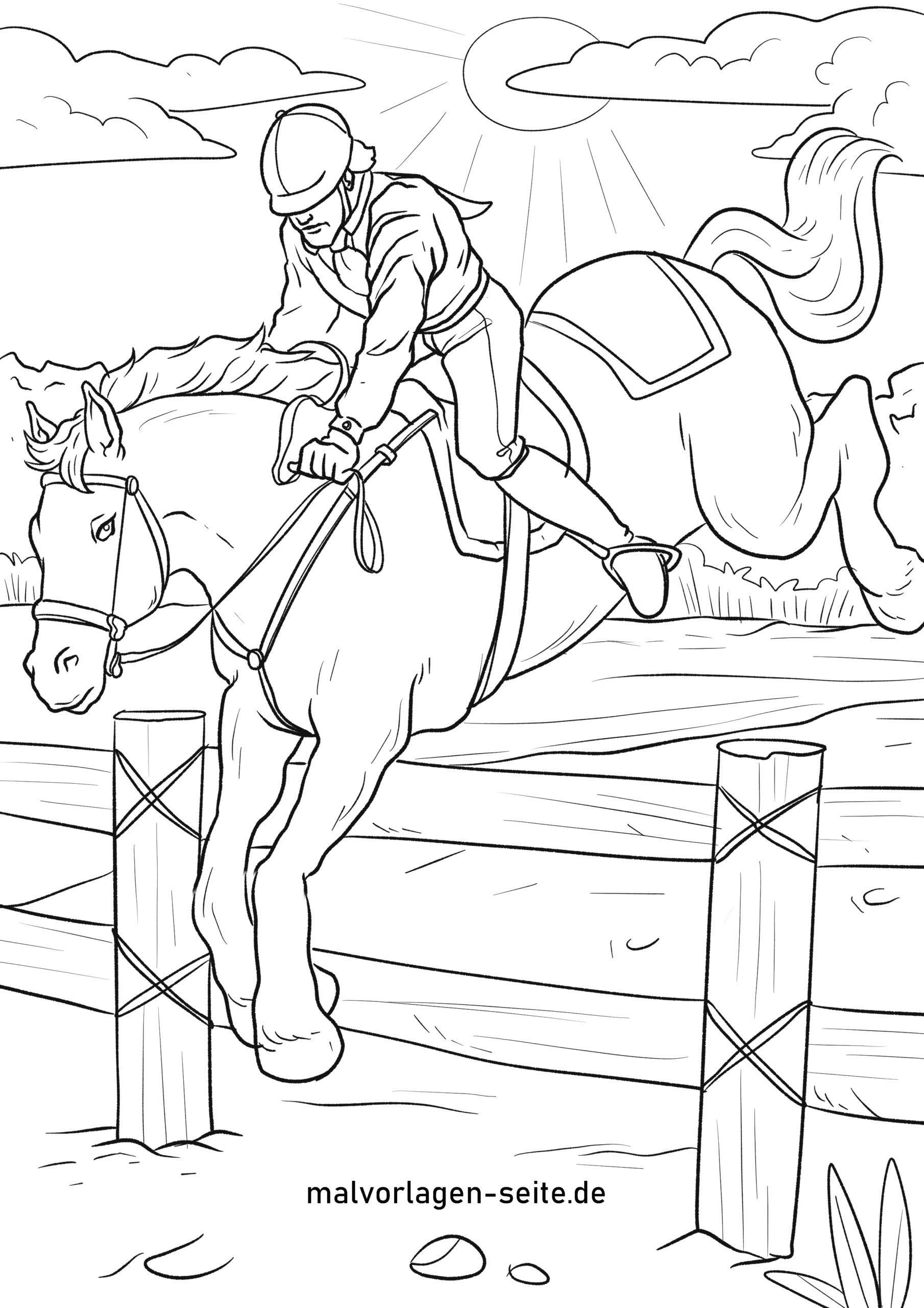Malvorlage Reiten  Pferde - Kostenlose Ausmalbilder