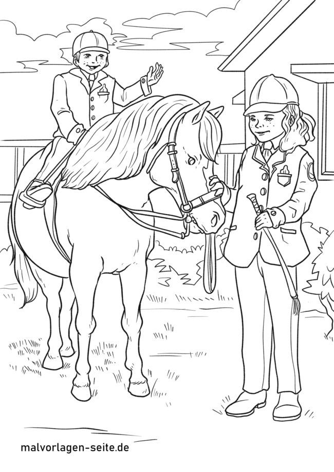 Coloring page riding lessons