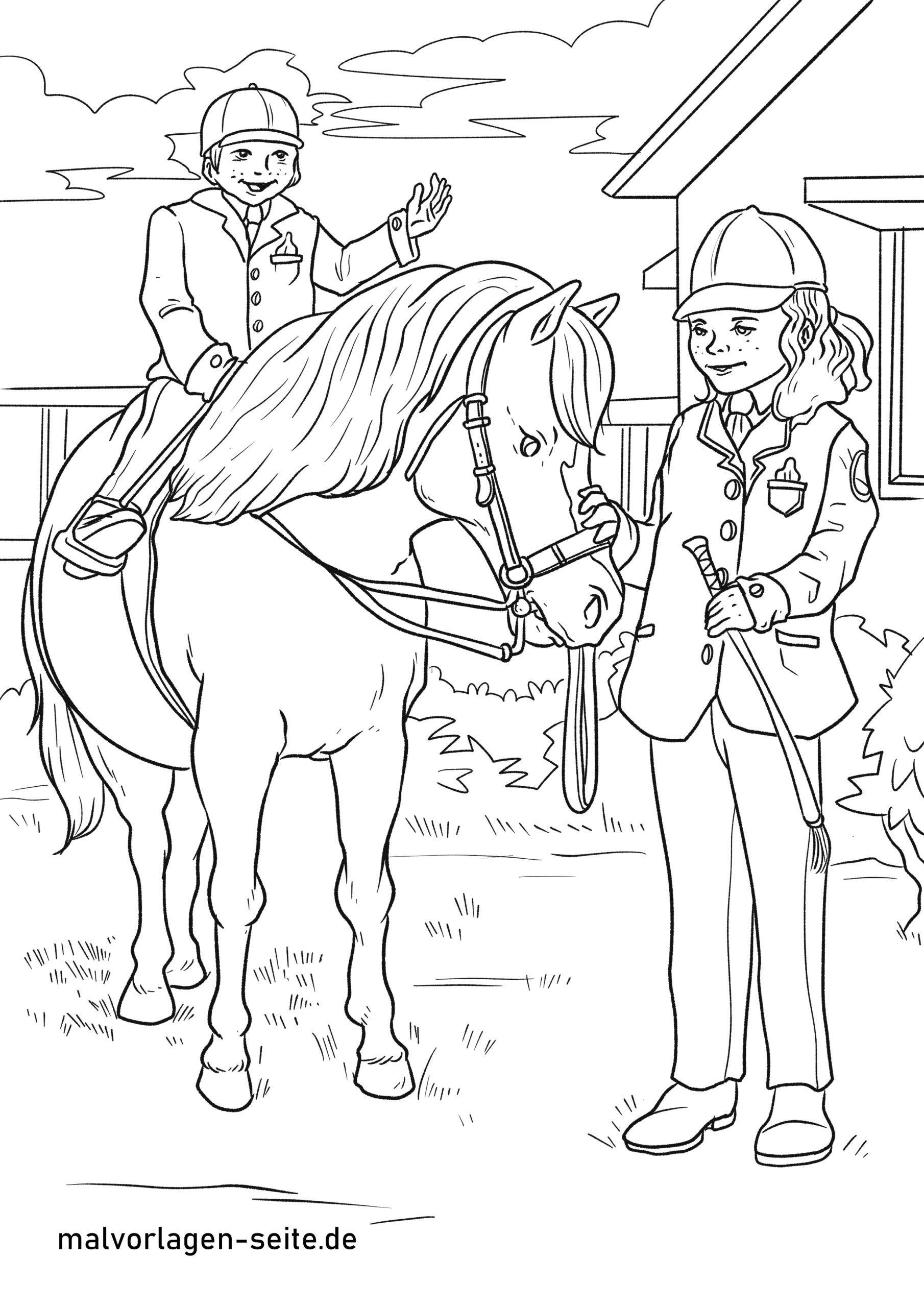 malvorlage reiten  pferde sport  kostenlose ausmalbilder