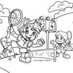 Գունազարդման էջը խաղալ թենիս երեխաների համար