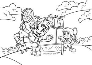 Coloring page playing tennis for coloring for children