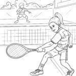 משחק טניס לדף צביעה לצביעה