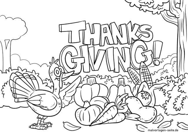 Malvorlage Thanksgiving / Erntedankfest