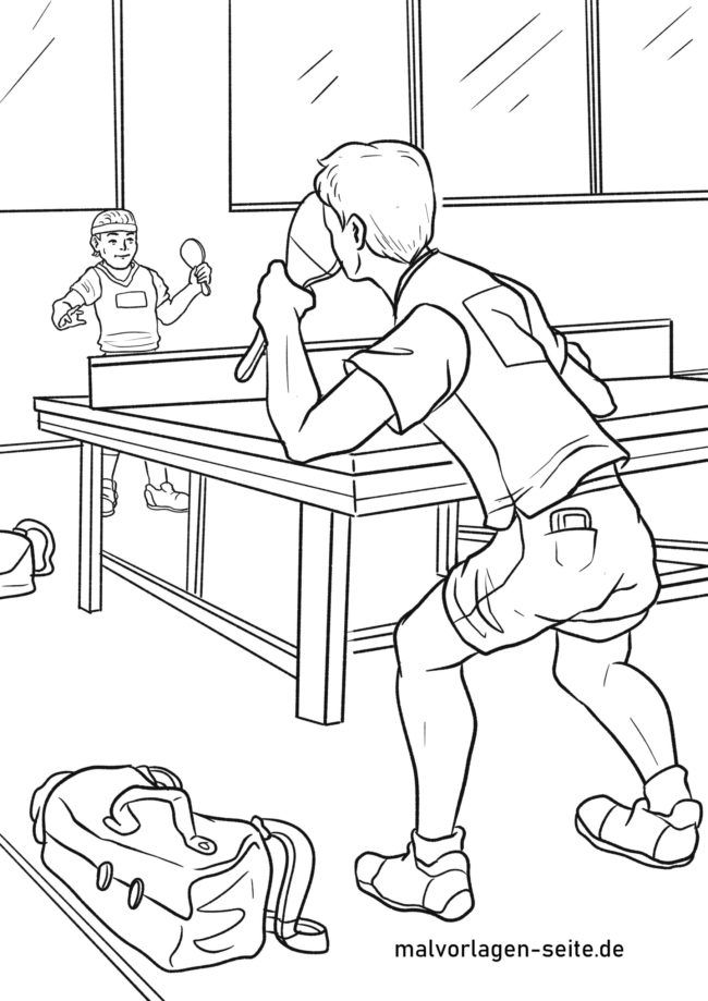 Coloring page table tennis match