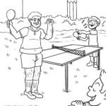 Página para colorir jogar tênis de mesa no jardim para colorir