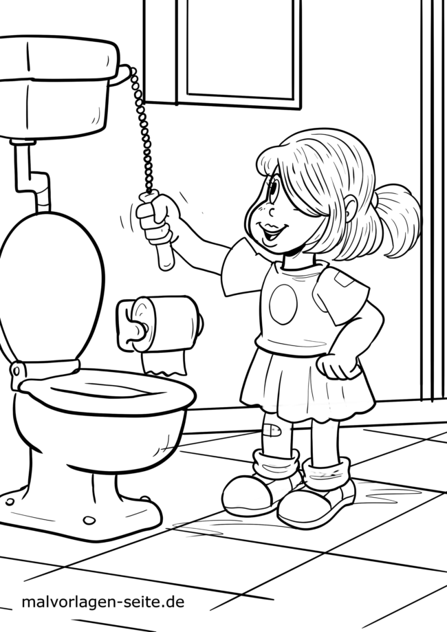 Coloring page Go to the bathroom
