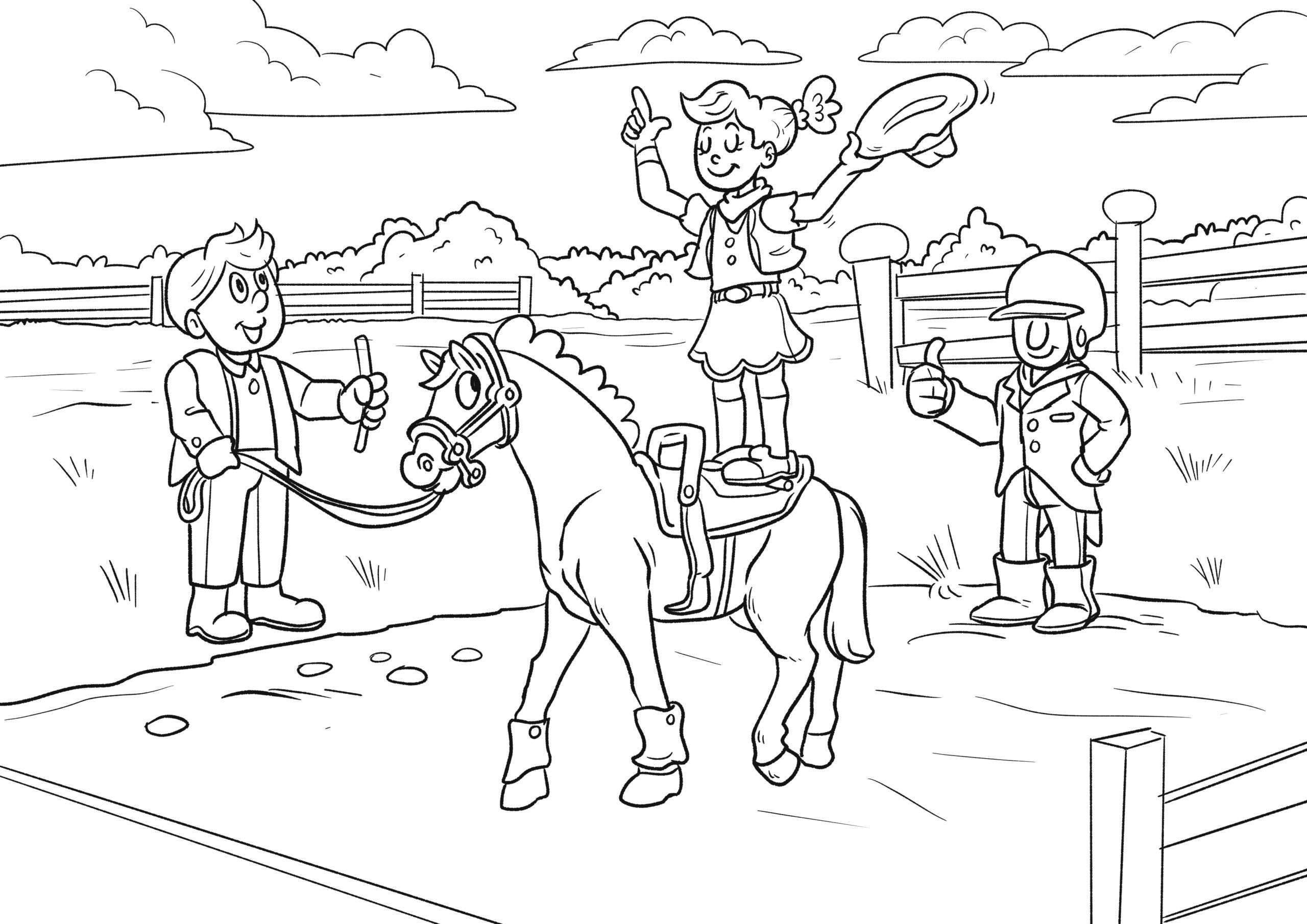 malvorlage voltigieren | reiten pferde - kostenlose