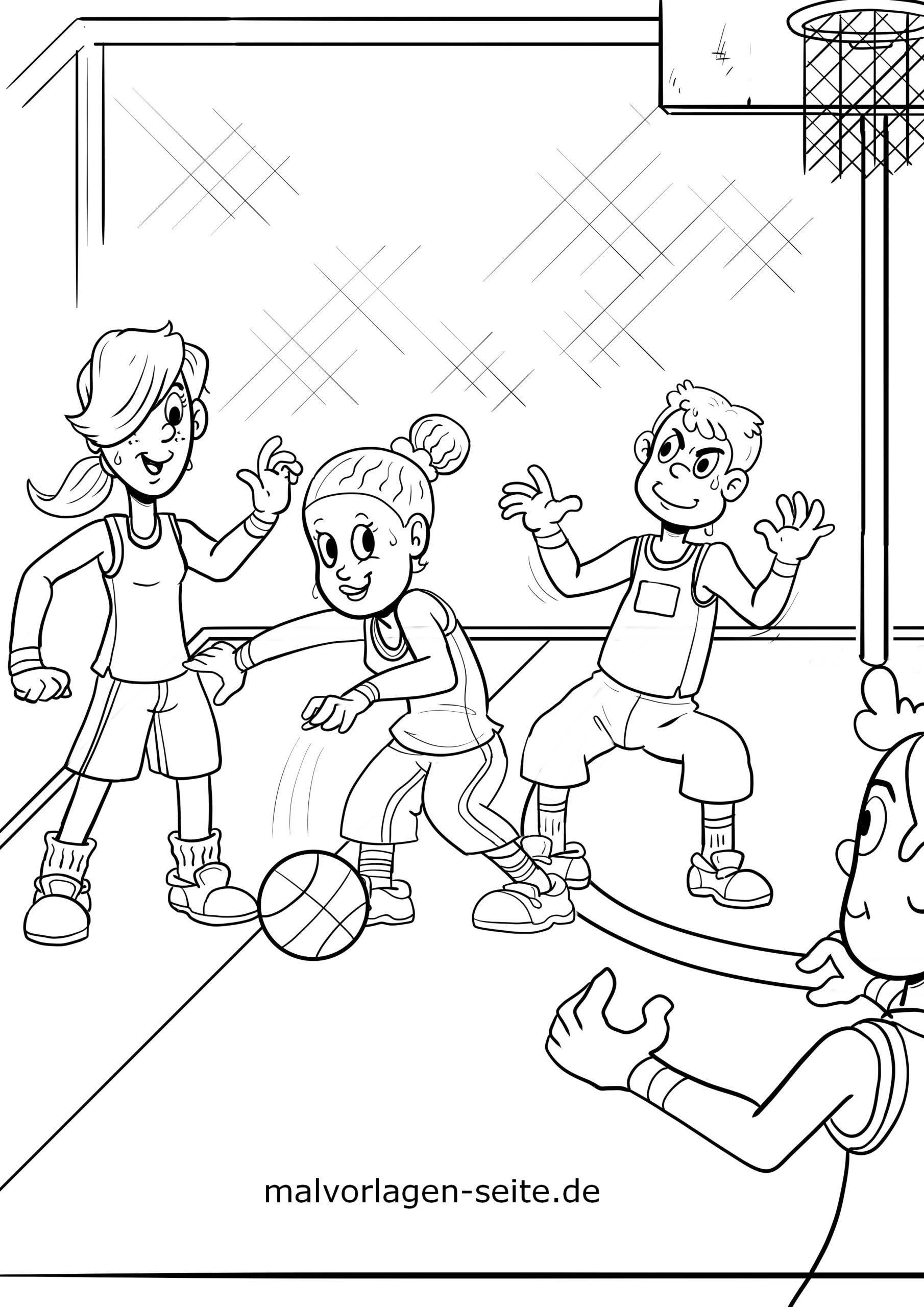 ausmalbilder basketball kostenlos herunderladen und ausmalen